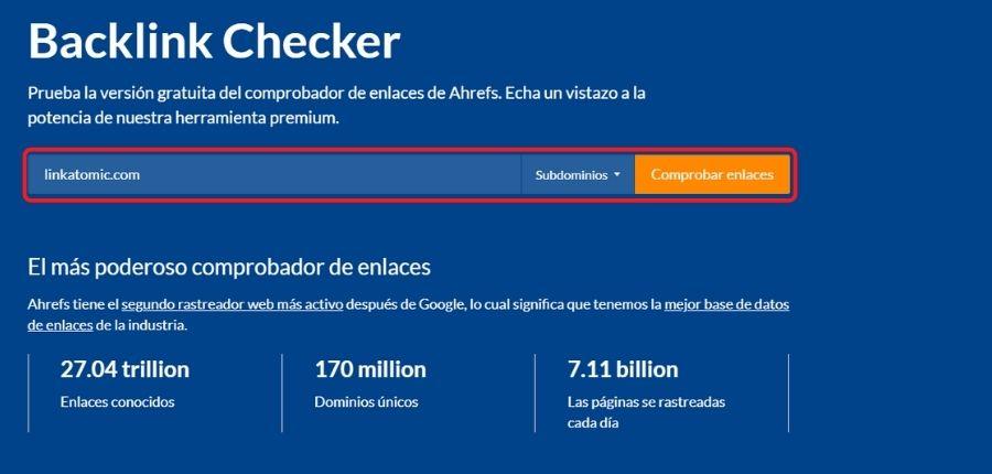 Herramientas para Webmasters Backlink Checker de Ahrefs