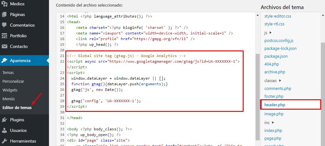 Cómo insertar el código de Google Analytics en WordPress sin necesidad de plugins