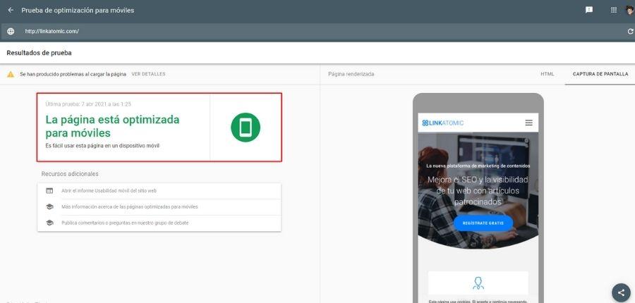 Test de Mobile Friendly de Google para hacer una auditoria SEO