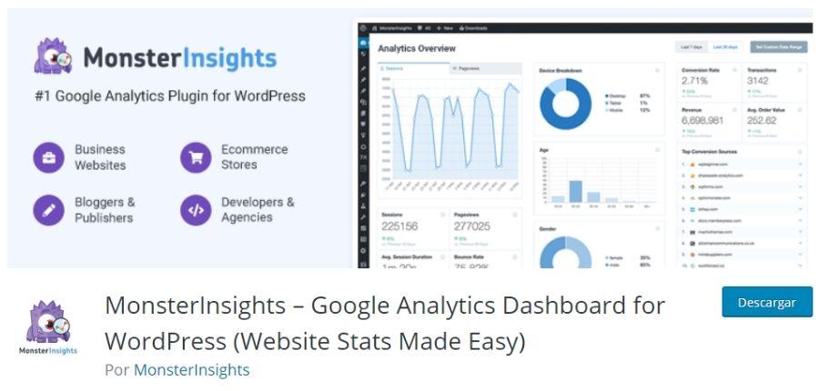 Plugin Monster Insights para instalar Google Analytics en WordPress