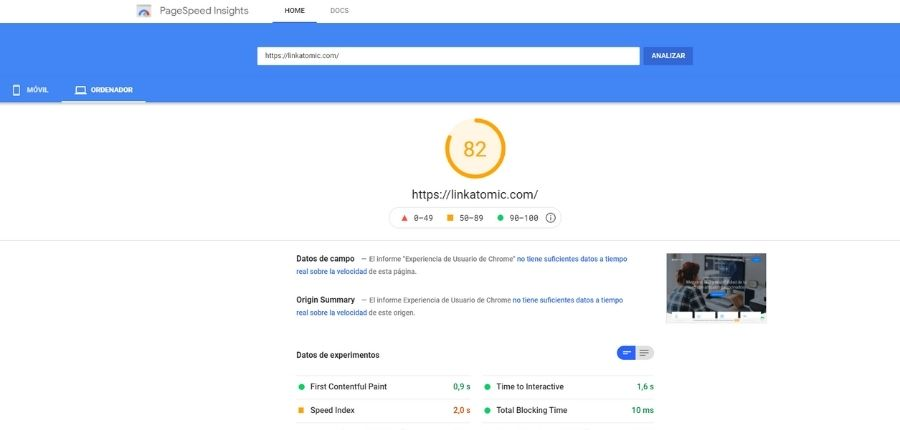 Test de velocidad PageSpeed Insights de Google