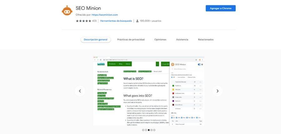SEO Minion para Google Chrome
