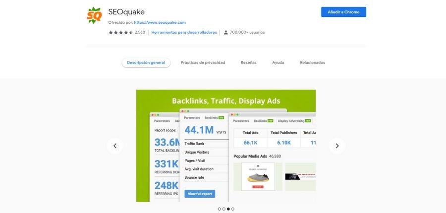 Extensión SEOqueake para Google Chrome