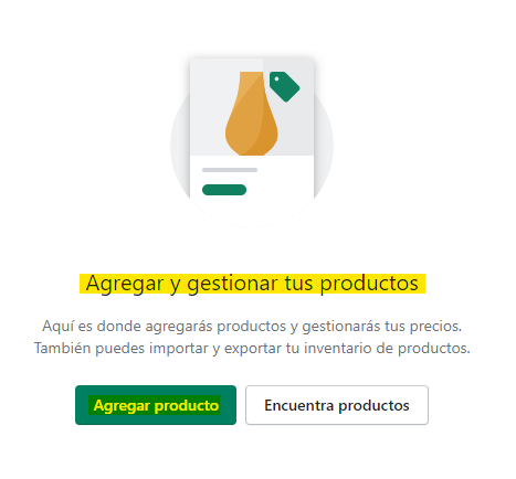 Productos en Shopify