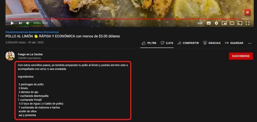 Vídeos con descripciones que mejoran el posicionamiento SEO en Youtube