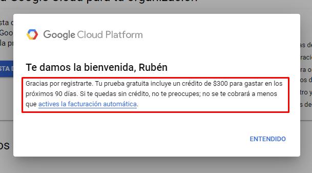 Prueba gratuita de Google Cloud