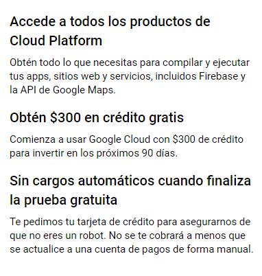 Información de facturación en Google Cloud Platform