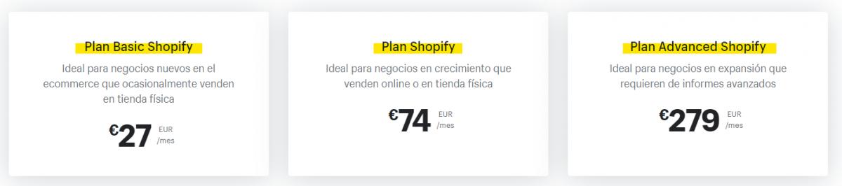Cuanto cuesta montar un ecommerce en Shopify