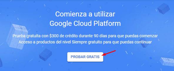 Registro en Google Cloud Platform