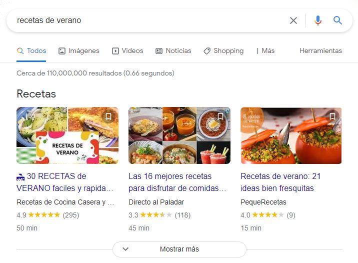 Rich snippets de recetas en Google
