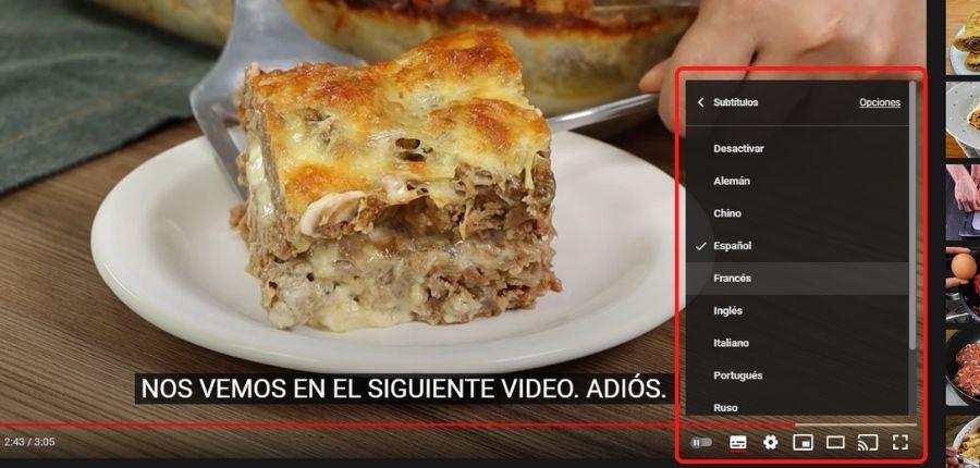 Subtítulos en vídeos de Youtube
